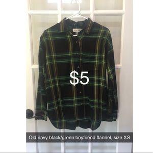 Old navy black/green boyfriend flannel size XS